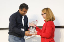 Picture: Dr. Subhasis Banerji, founder of Synphne, receives the winner's trophy of the start-up COMPETITION at MEDICA 2019.