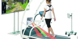 Image: woman on the Rehawalk® system by zebris; Copyright: zebris